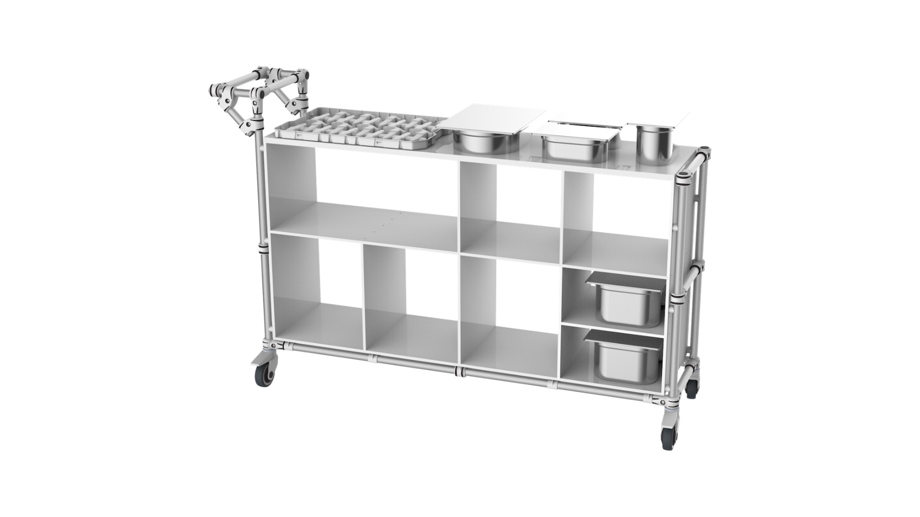 Healthcare - Compartment trolley for visual inspection on the assembly line.