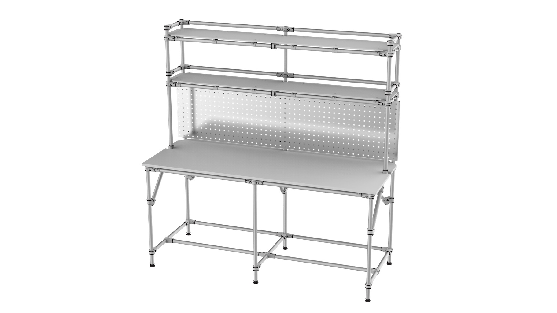 Electronic - Workstation with shelf and holder grid for electronic equipment assembly.
