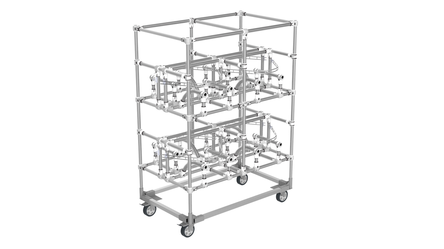 Aerospace - Storage trolley for supplying air intake parts to the production area.