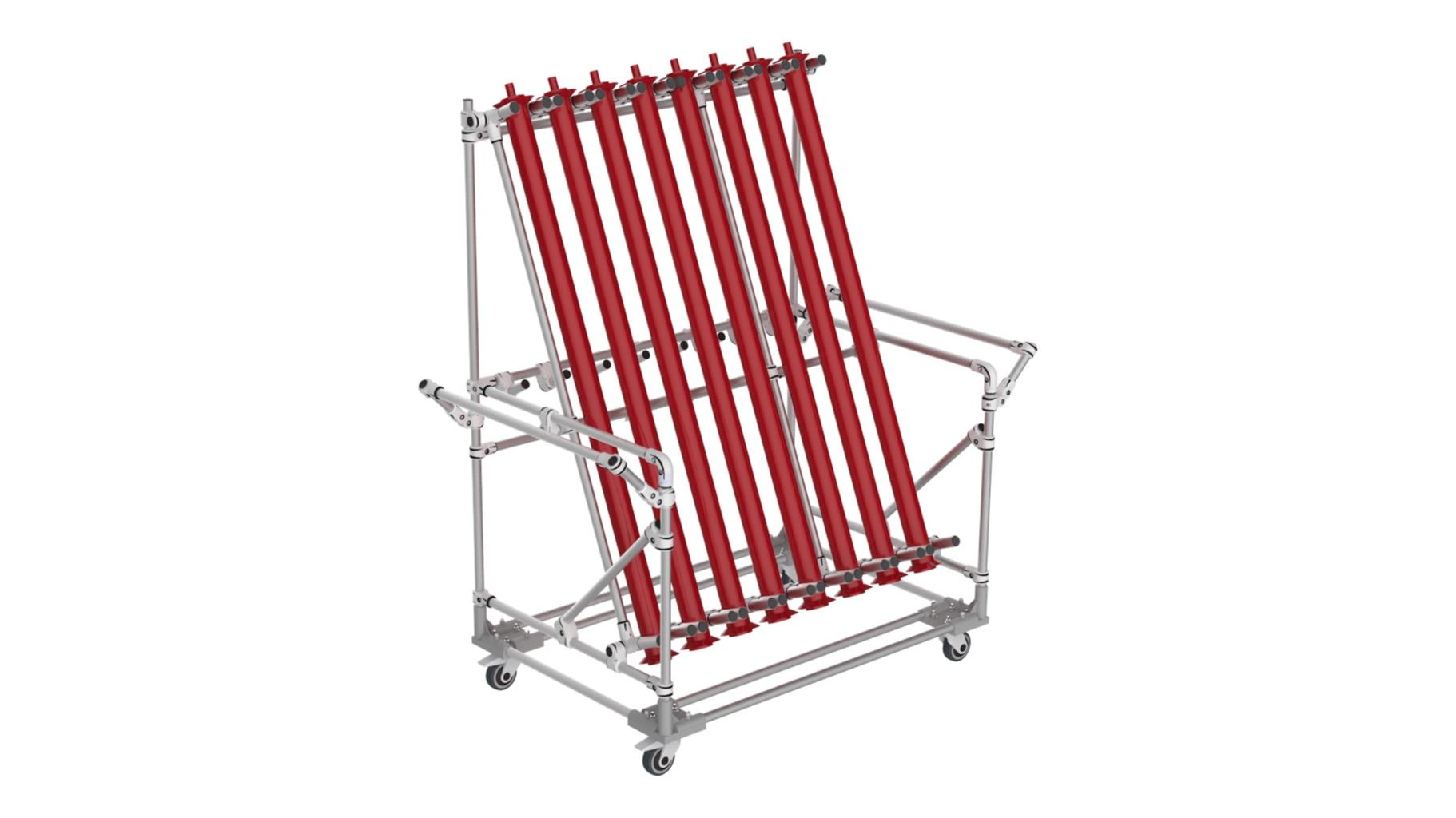 Aerospace - Storage rack for light fixtures.
