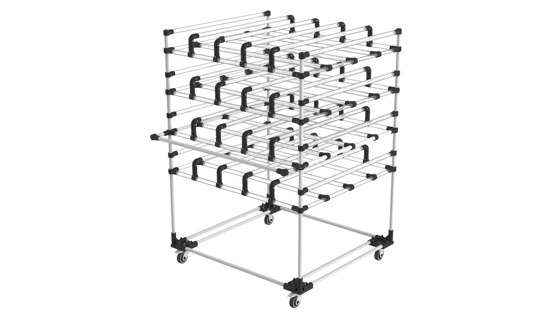 - Horizontal storage trolley, fitted with protective sheaths to ensure that the most fragile products are not damaged.