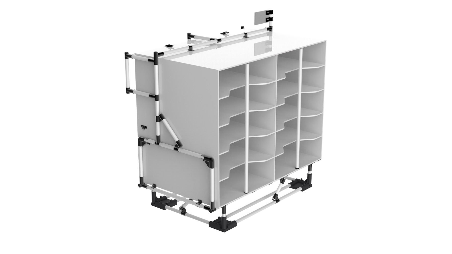 Electronic - Storage support with compartments to be placed on a rolling base. Ideal for the provision at the edge of the assembly line of electrical wiring (in this case). Easy supply and sorting.