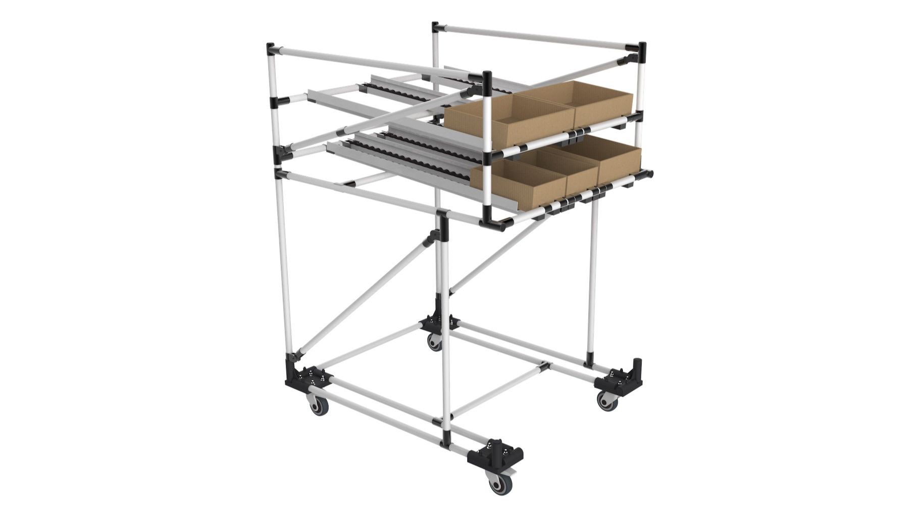 Metallurgical industry - Line edge flow rack, consisting of two supply levels and an empty space below to allow the storage of pallets, oversized bins or even to attach to a machine or assembly station.