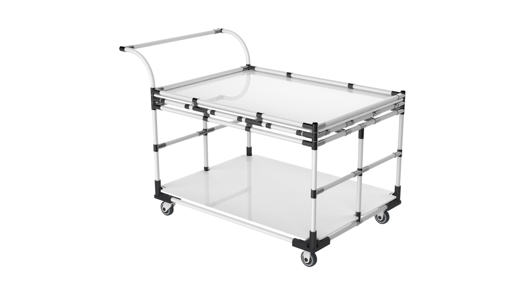 Aerospace - Transport trolley for heavy loads (equipped with a double reinforcement bar). Designed for transporting semi-finished parts.