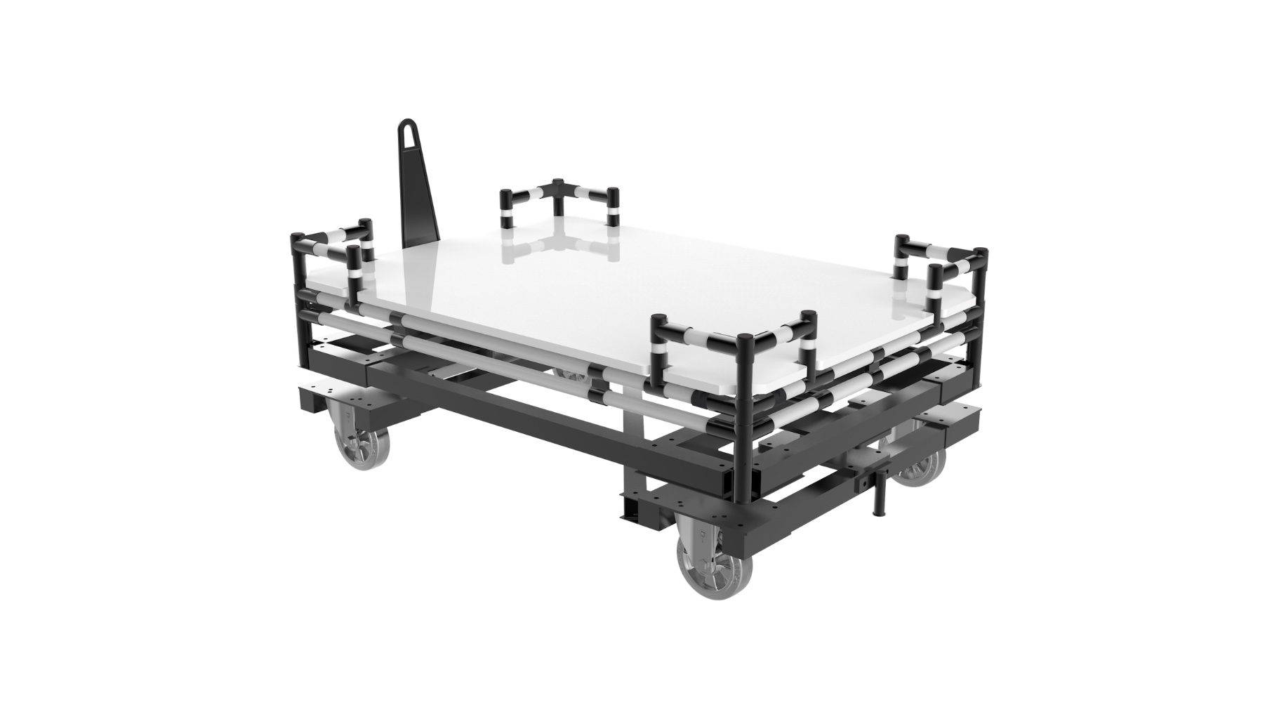 Lighting - Single-track towable trolley for pallet transport.