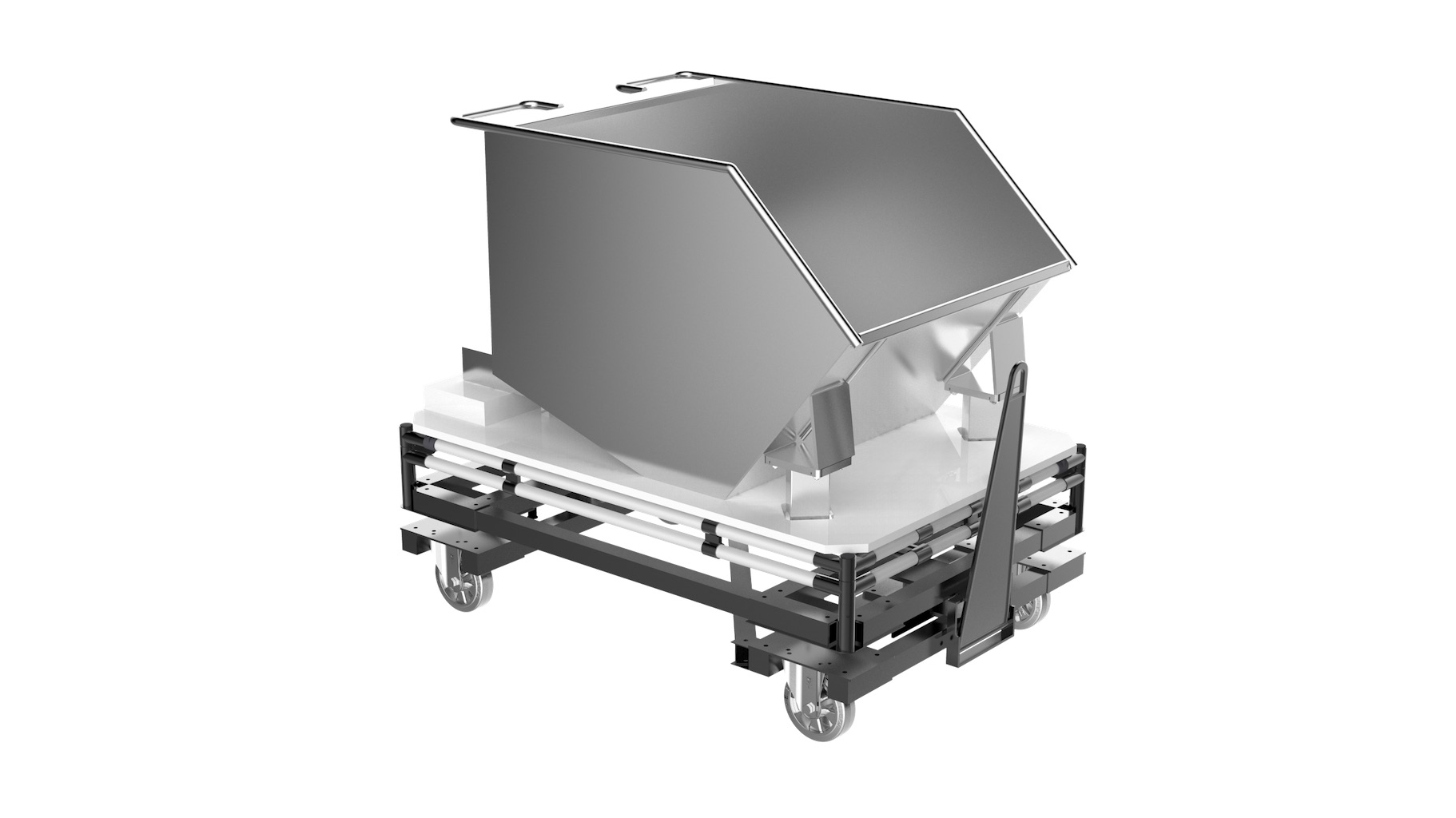 Industry - Single-track trolley equipped with a bucket with metal base for very high load resistance.