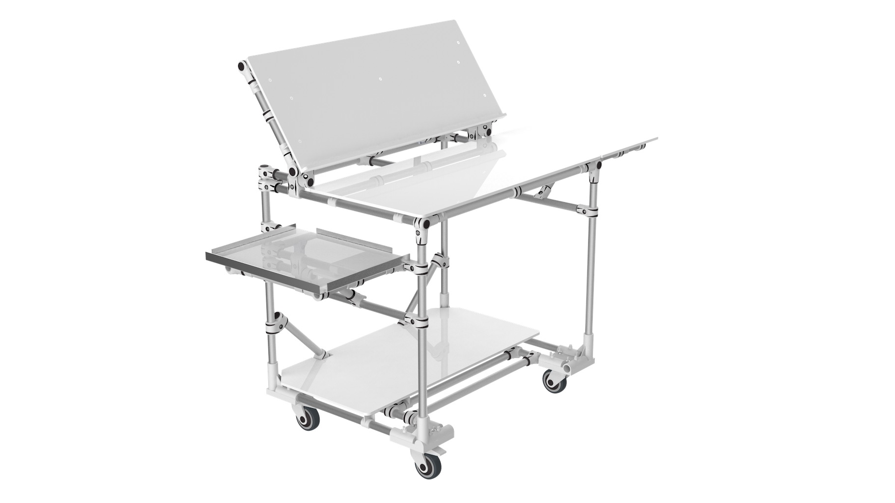 Industry - Mobile workstation equipped with tablets and an inclined panel ideal for arranging documents. Station on wheels, perfect for moving around the entire production line.