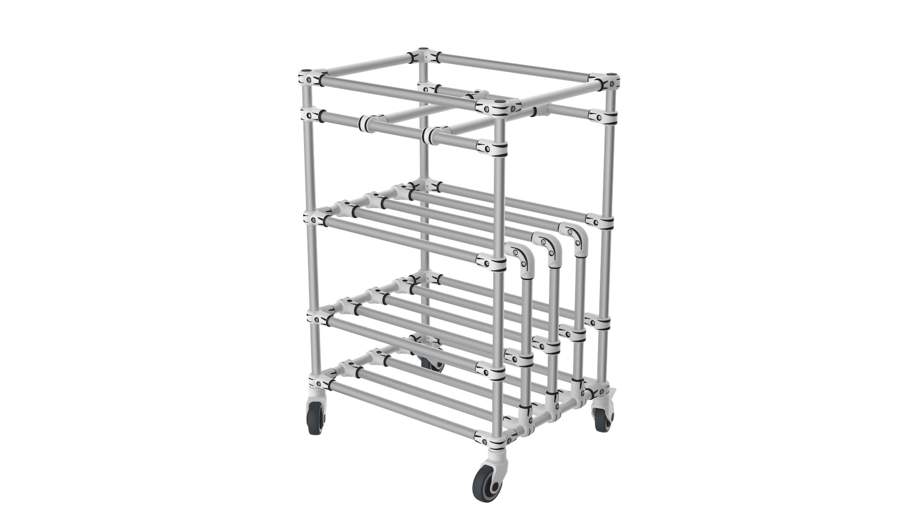 Electronic - Double storage trolley: vertical and horizontal. It is composed of a box / bin location on the top and a compartment for vertical storage below. A very versatile solution.