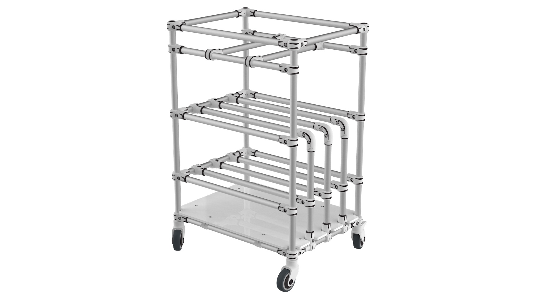 Electronic Industry - Bespoke Cart integrating 2 functions: vertical storage on low level and bin transport on upper level.