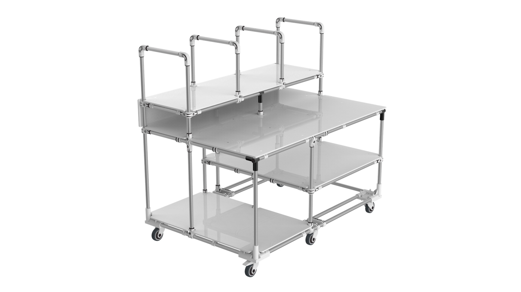 - Bespoke mobile workbench for cartons forming integrating 2 functions: vertical storage on upper level with transport and storage on lower level.