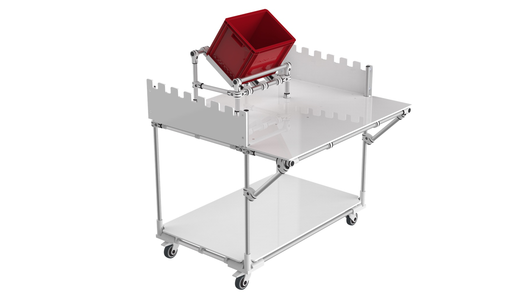 - Bespoke mobile workbench with centered picking zone.
