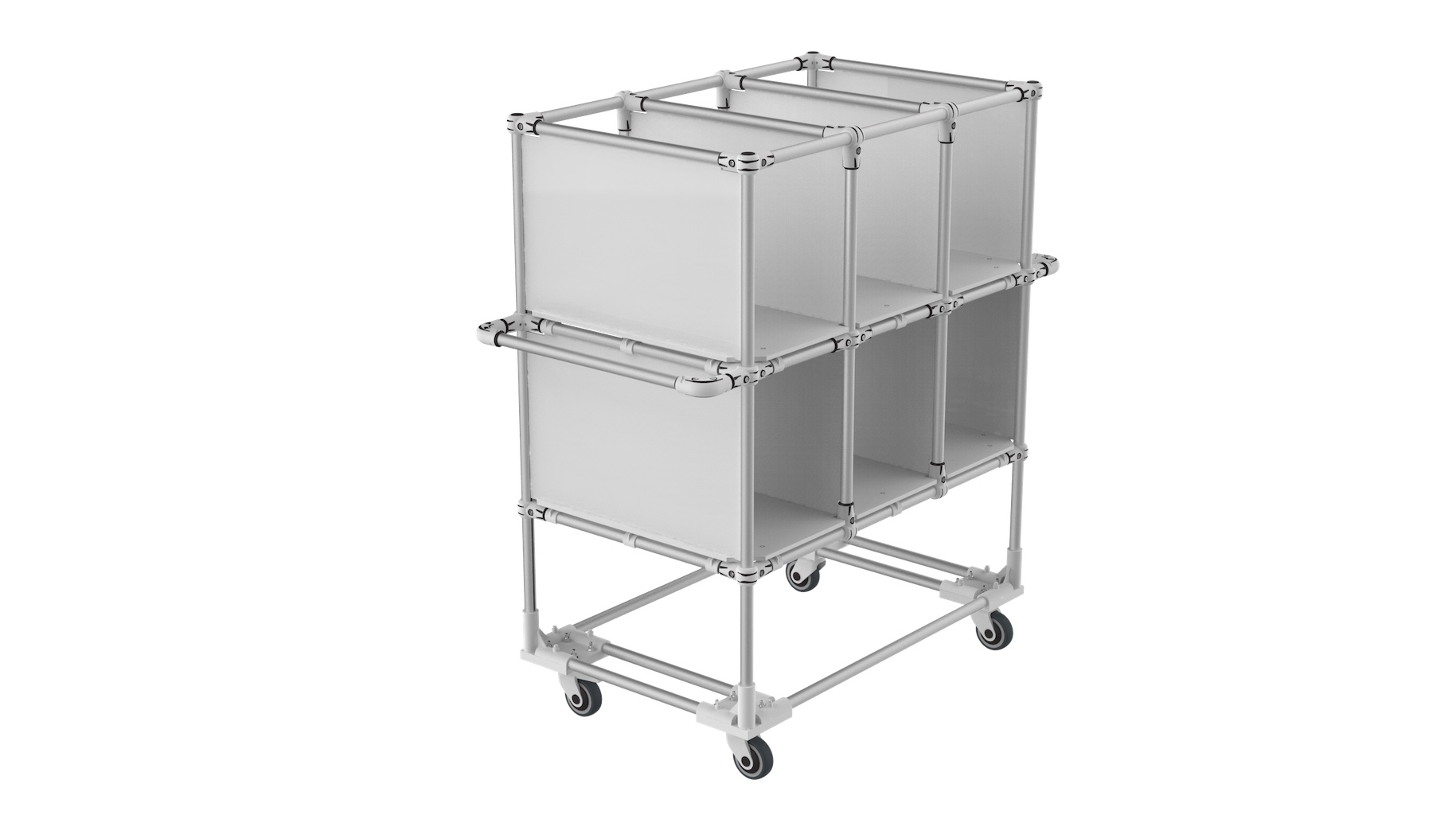 Music industry - Bespoke mobile trolley with 6 compartments.