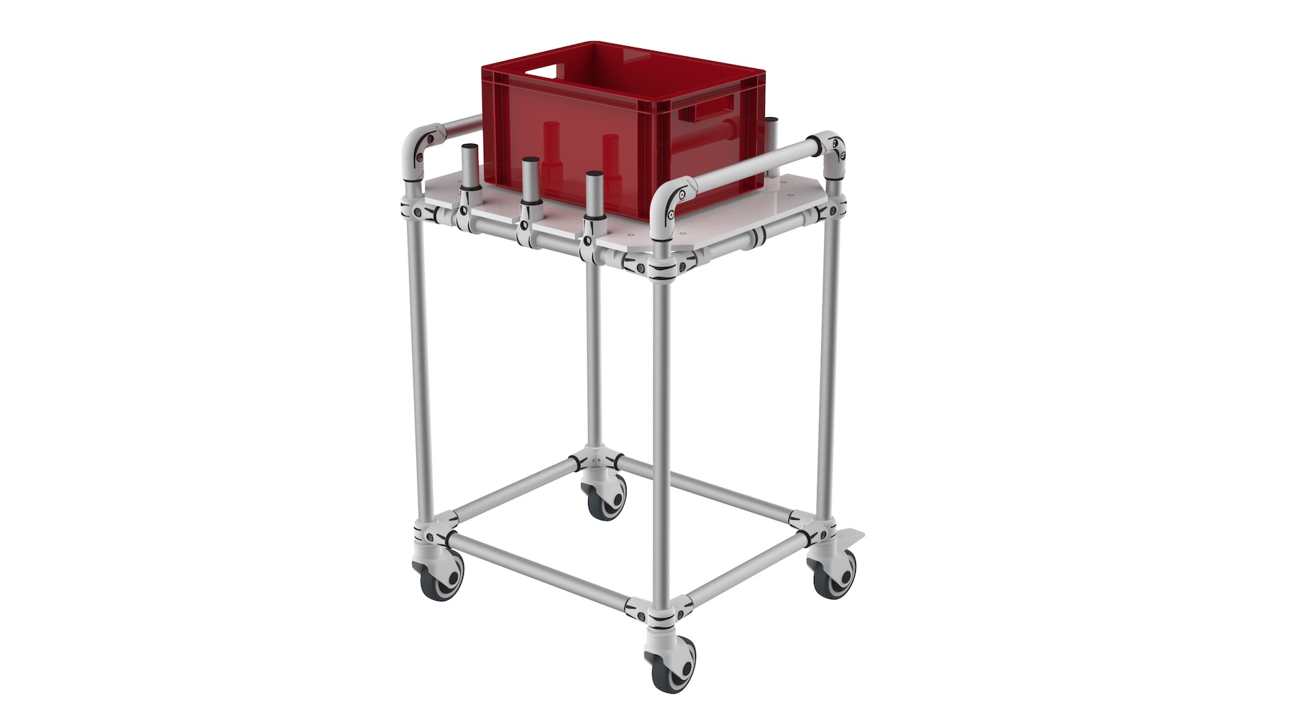 Logistic industry - Very light push trolley for tote with flange.