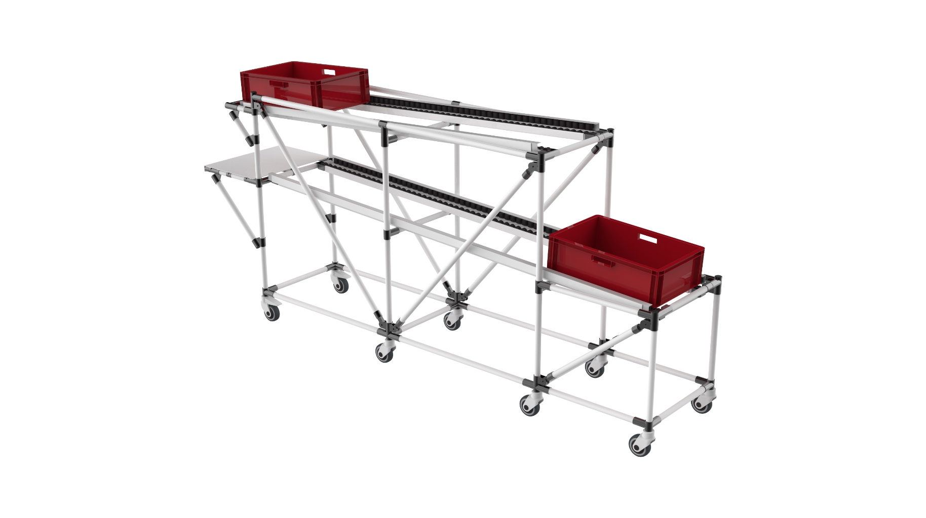 Automotive industry - Bespoke mobile live storage with top return level and back position presentation stage.