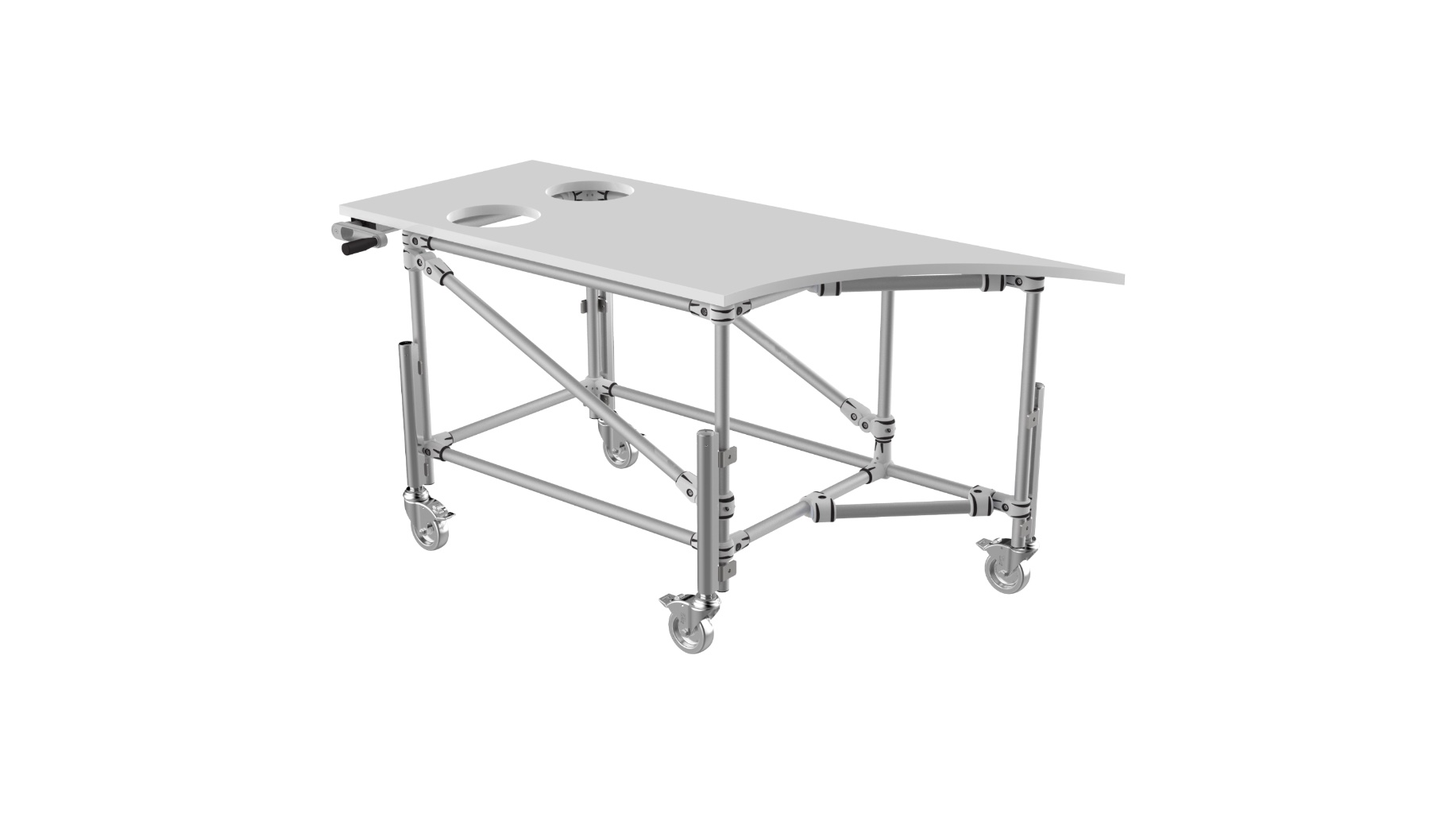 Food industry - Bespoke worktable with electric height adjustment and customized work table.