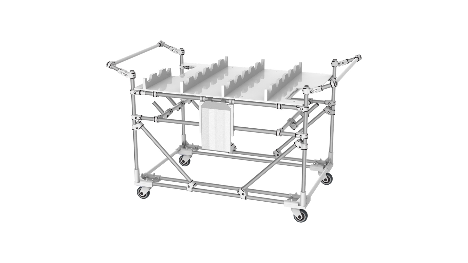 Aerospace - Trolley for the transport and storage of lighting parts for aeronautics.
