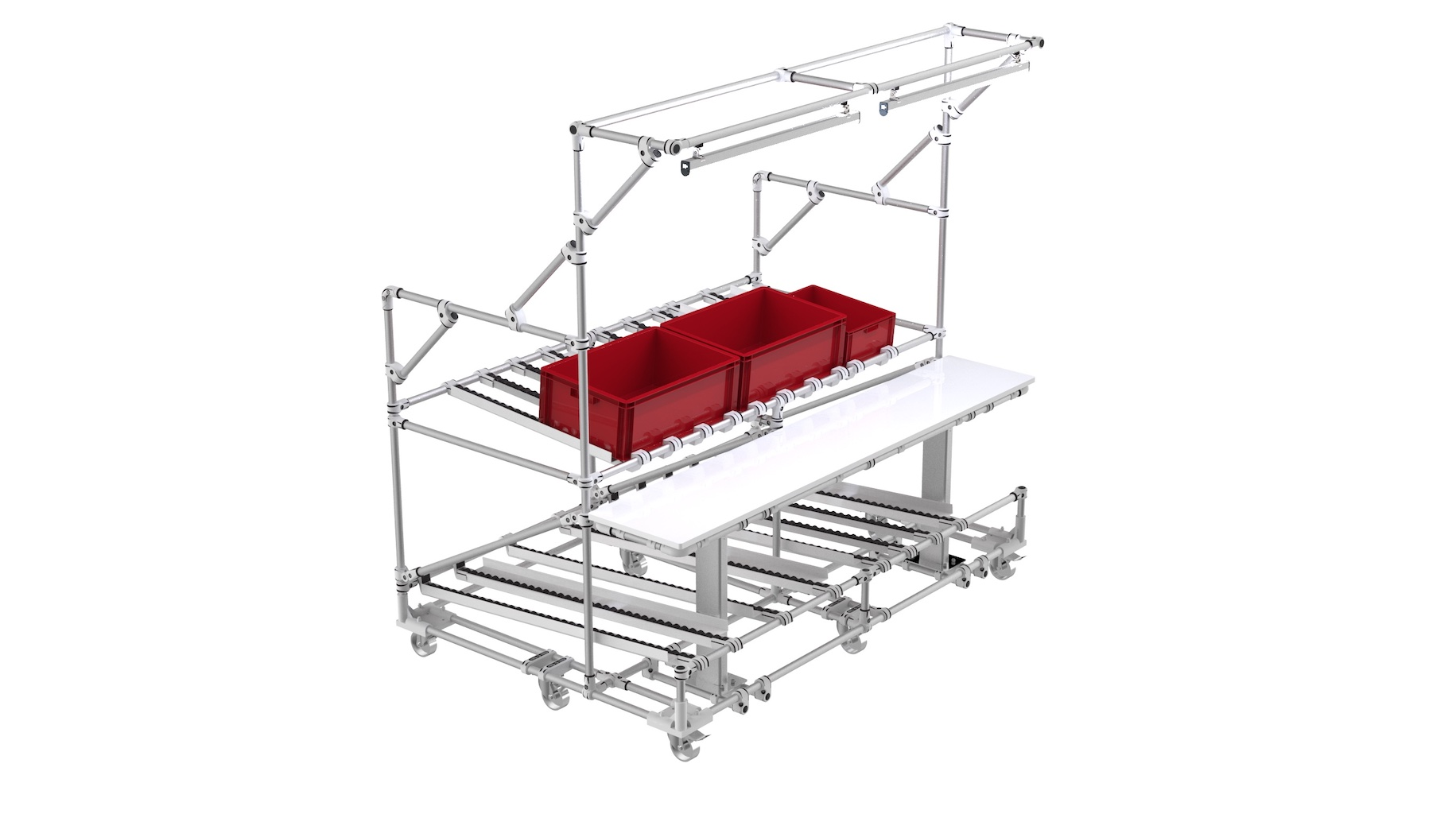 E-commerce - Mobile aluminum workbench with height powered height adjustment and doible LED lightning. FIFO function and empty return level on bottom position.