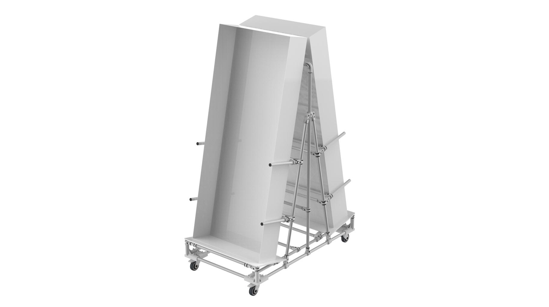 Aeronautic industry - 2 faces vertical presentation cart