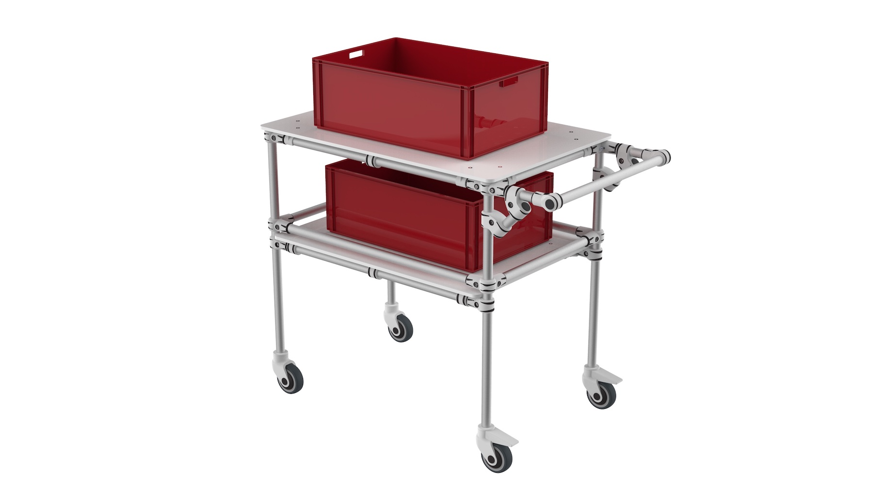 E-commerce - Bespoke technical cart made of one level with flanges and one free level on upper position.