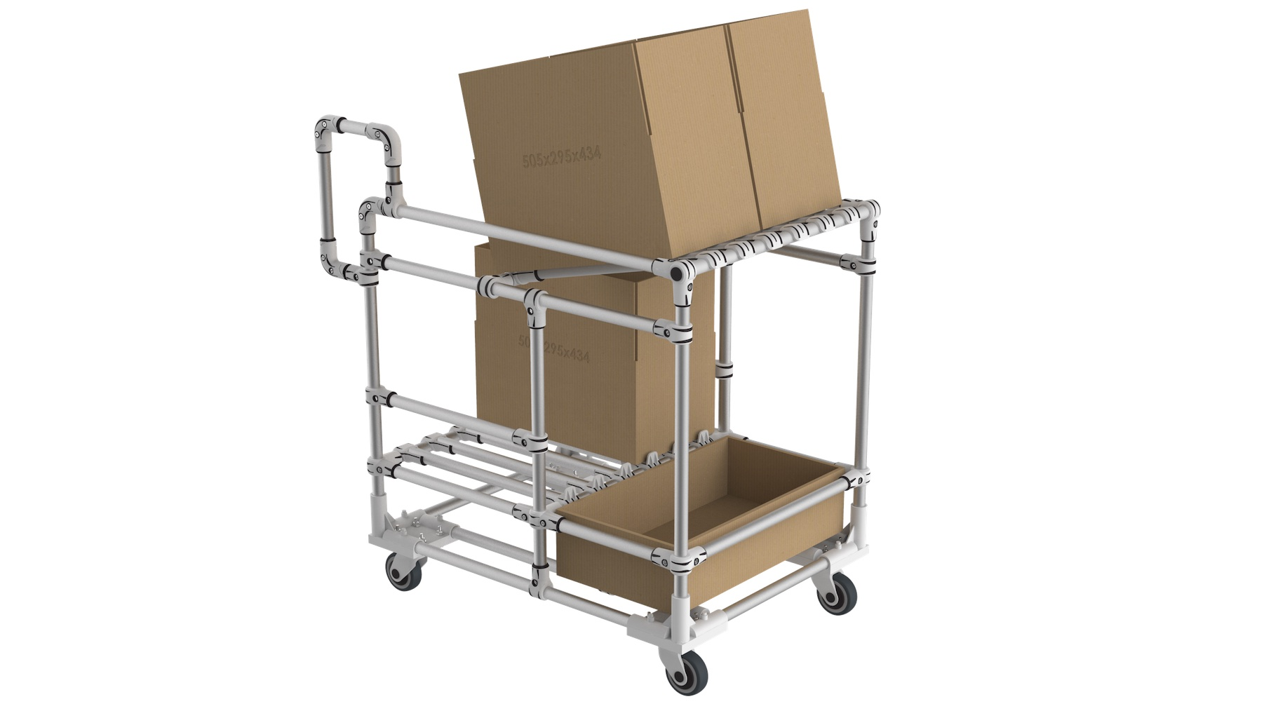 Logistics - Transport and picking trolley for large size cartons.