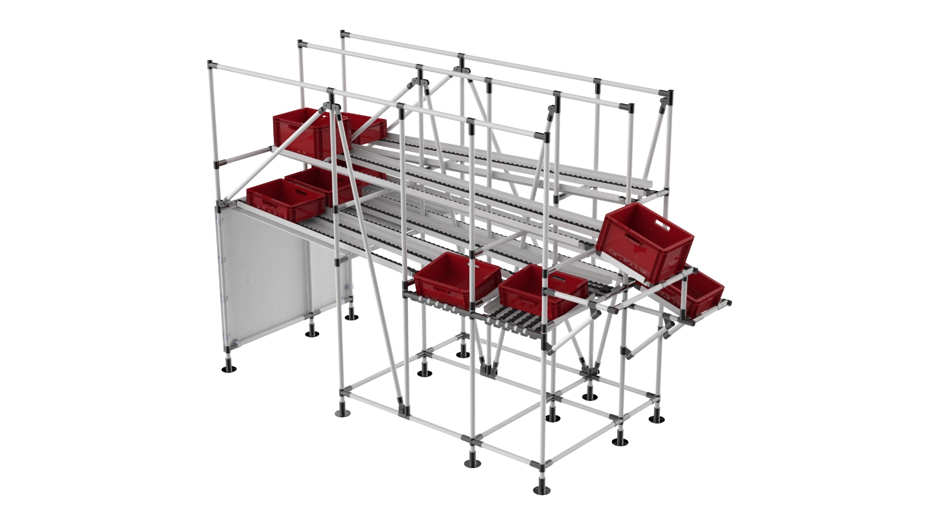 Automotive industry - Bespoke Technical live storage for FIFO distribution of various parts for the assembly linet.