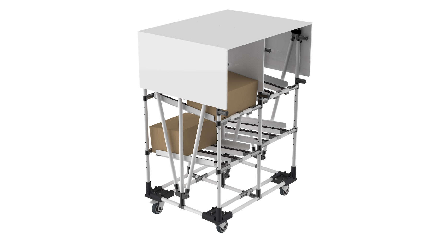 Industry - Technical flowrack with bespoke parts protection device on top position.