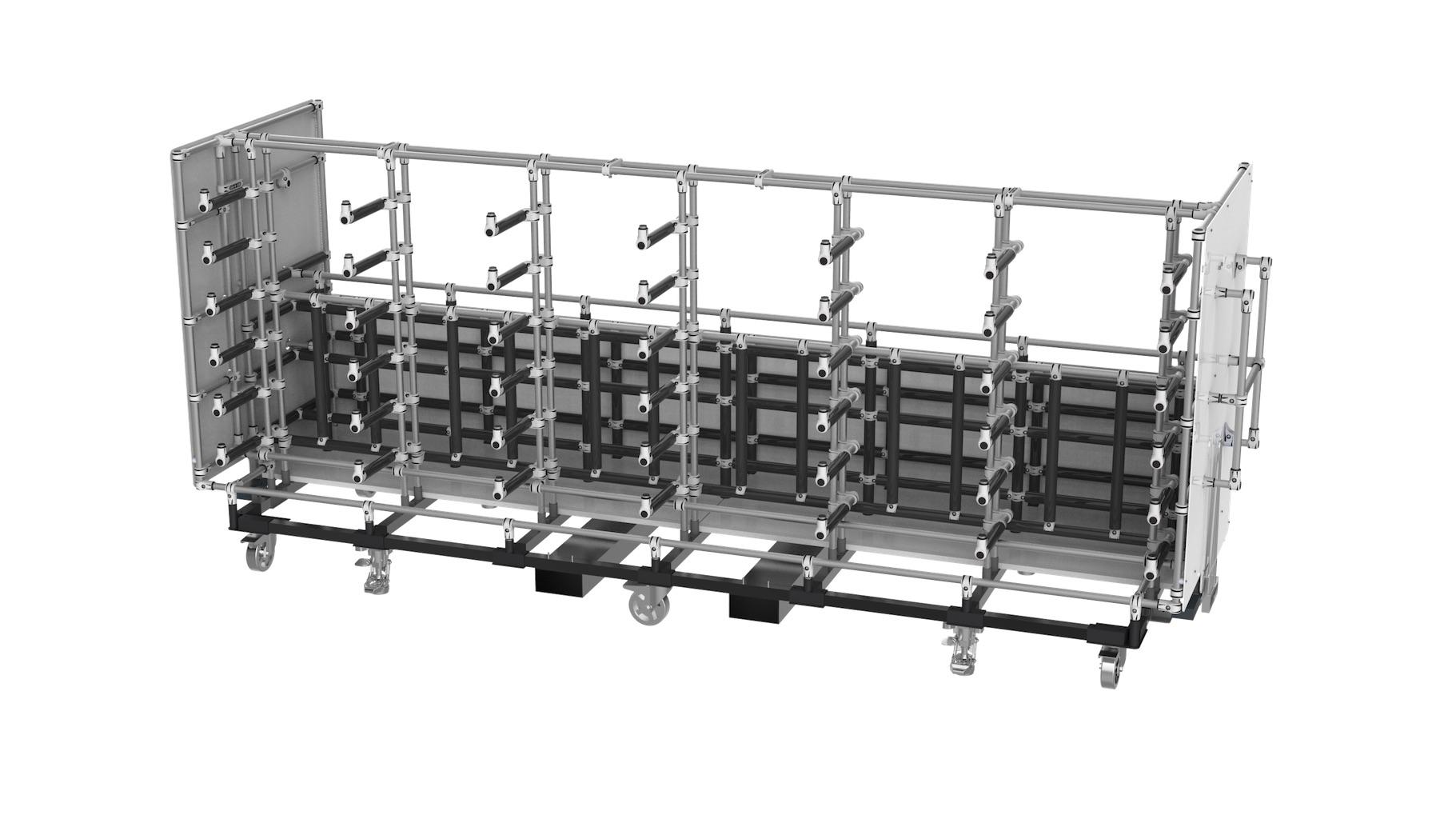 Aéronautique - Chariot tractable avec bras en porte à faux, type cantilever pour l'acheminement de tubes et câbles sur la chaine d'assemblage. Équipé de fourreaux pour manutention par chariot élévateur.