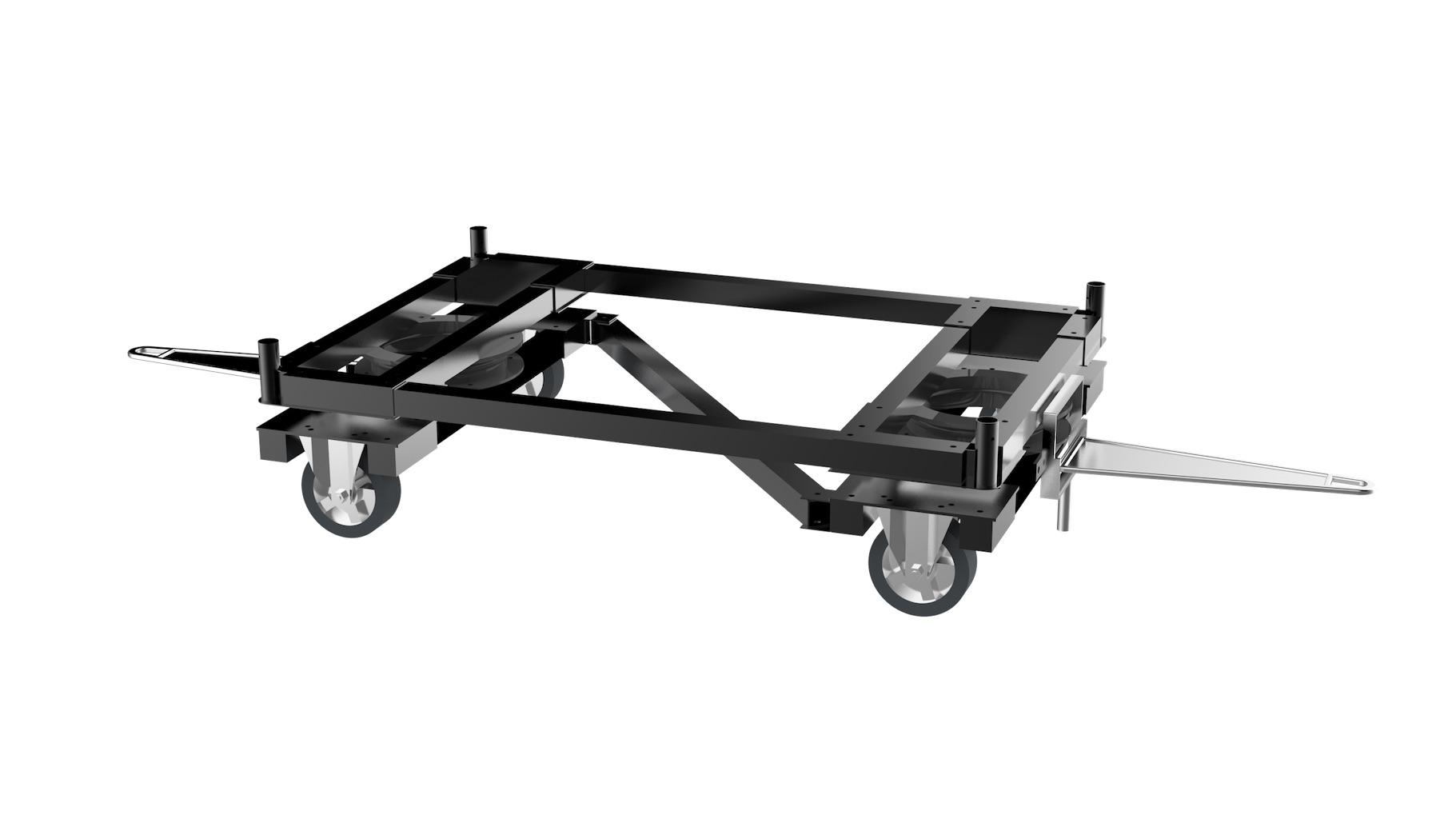 Aéronautique - Embase métallique monotrace double sens, offrant une grande maniabilité. L'embase peut être utilisée seule ou surmontée d'une structure type : chariot, flow rack…