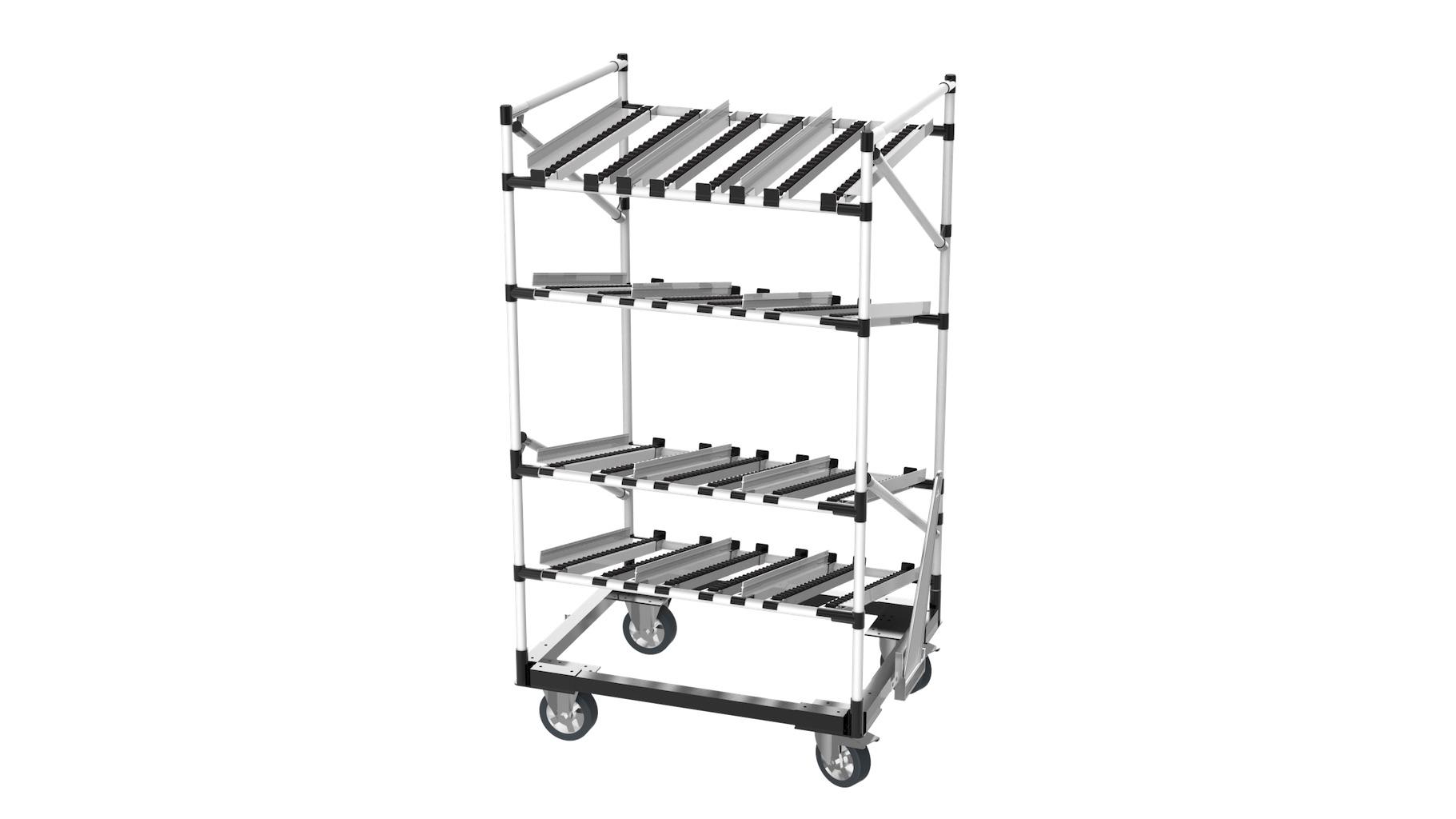 Agriculture - Chariot à embase métallique de type rack dynamique, pour le transport de bacs KLT. Composé de 3 niveaux d'approvisionnement et d'un niveau de retour de vide, il est idéal pour une gestion FIFO des stocks.