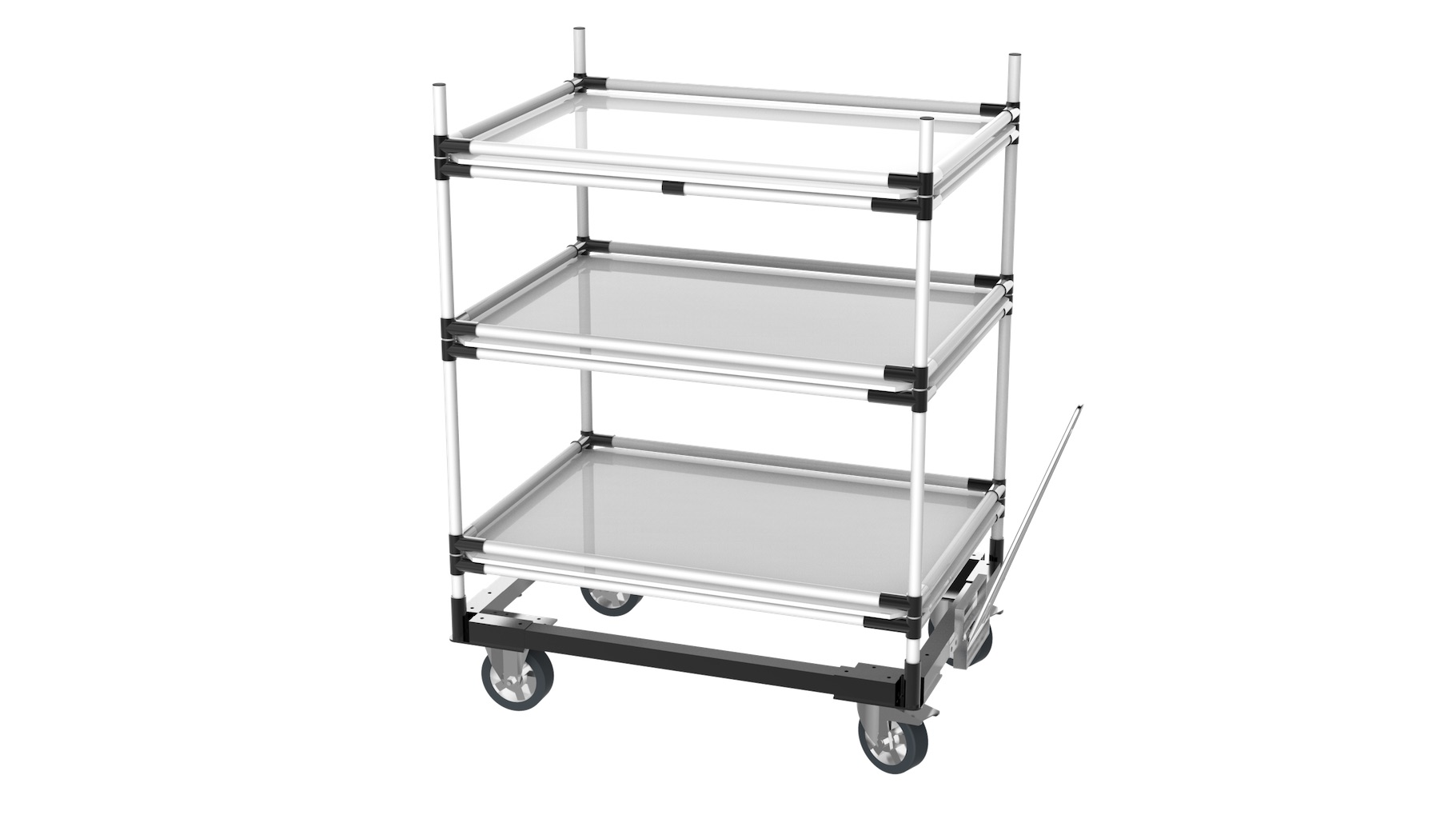 Automobile - Chariot tracté type étagère, pour l'approvisionnement et le stockage en bord de ligne d'assemblage. Composé de 3 niveaux avec plaque et barres antichute.