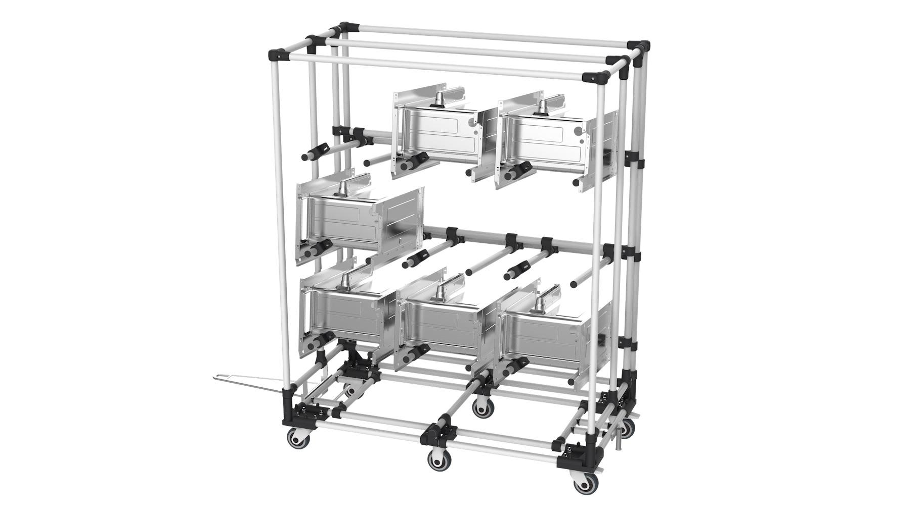 Biens d'équipement - Chariot tractable avec bras en porte à faux, type cantilever pour le stockage et transport de pièces en cours de fabrication.