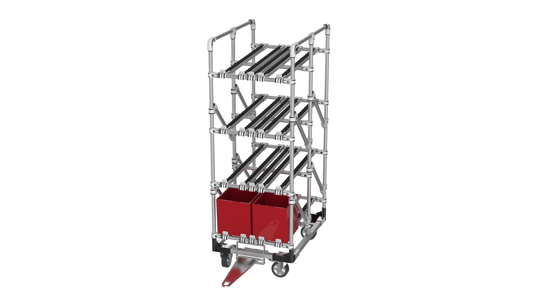 Équipementier automobile / aéronautique - Chariot tractable avec embase renforcée pour permettre l'acheminement des bacs. Ce chariot est équipé de 4 niveaux en rails pour un approvisionnement FIFO.