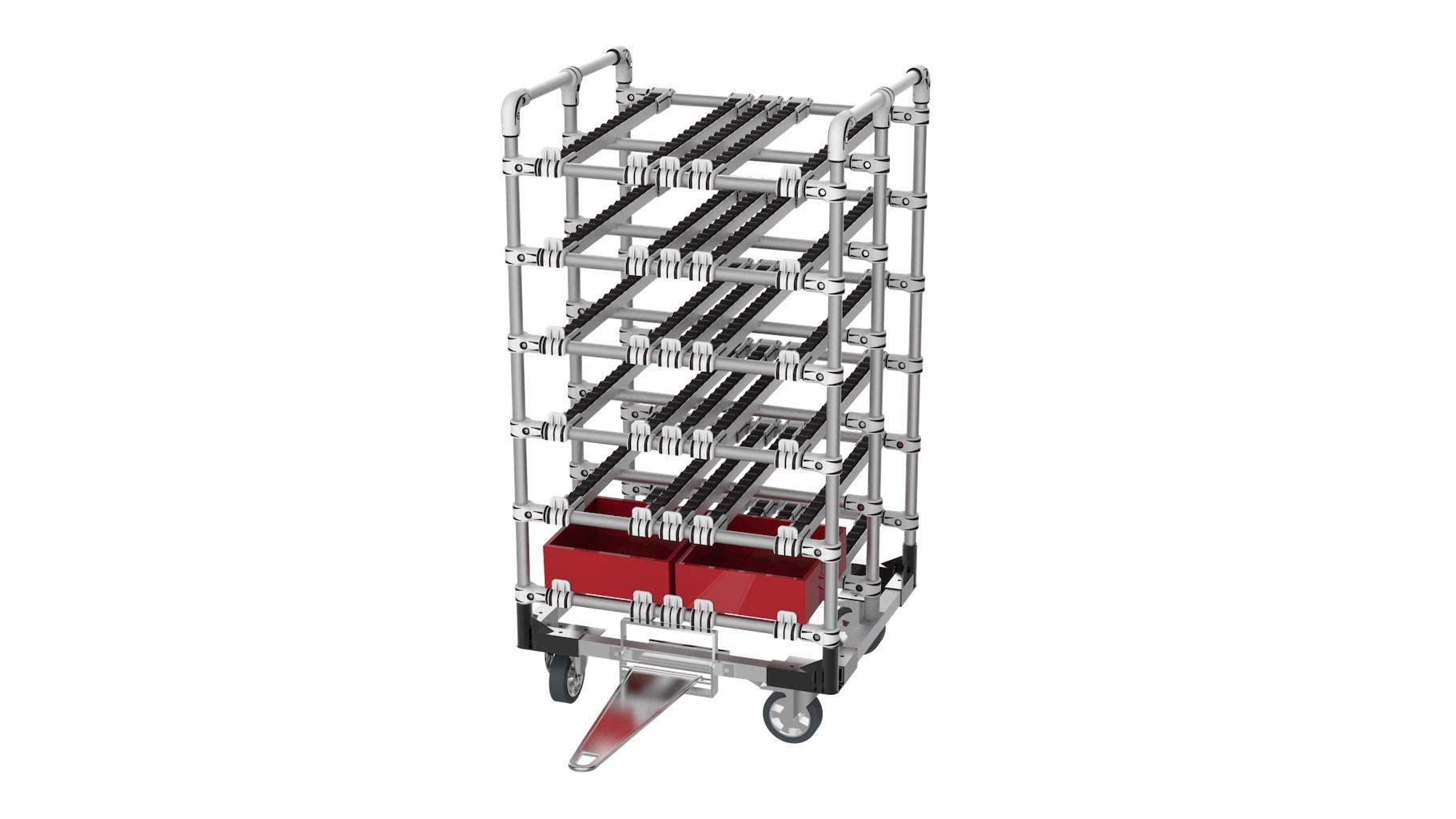 Équipementier automobile / aéronautique - Chariot tractable avec embase renforcée pour permettre l'acheminement des bacs. Ce chariot est équipé de 6 niveaux en rails pour un approvisionnement FIFO.