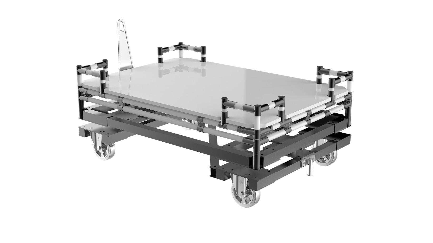 Logistique - Embase tractée monotrace offrant une grande résistance et permettant de transport de palette. L'embase peut être utilisée seule ou surmontée d'une structure type : chariot, flow rack…